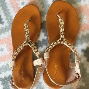 Bamboo Tan Summer Strappy Sandals Women's 9